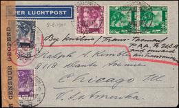 PAA-Flugpost NL-Indien BATAVIACENTRUM 2.8.1940 Als Zensurbrief DEV 9 In Die USA - Luftpost