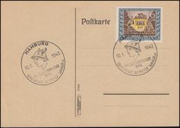 828 Tag Der Briefmarke 1943 Auf Blanko-Postkarte ESSt HAMBURG Hermes 10.1.1943 - Giornata Del Francobollo