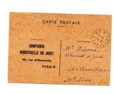 Carte Cachet Paris 124 Port Payé Theme Jouet - Marcophilie (Lettres)