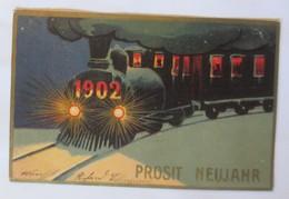 Neujahr, Jahreszahl, Lokomotive, Eisenbahn,  1901 ♥ (19519)  - Anno Nuovo
