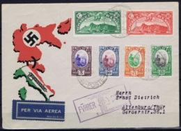 San Marino Airmail Propaganda Cover 1938  Sa 141 - 144 + PA 1 + 2 Fuhrer + Duce Cancel - Saint-Marin