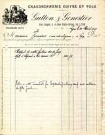69. LYON.CHAUDRONNERIE CUIVRE & TOLE.GUTTON & GENESTIER 6 RUE JANGOT & 18 RUE CROIX JORDAN. - France