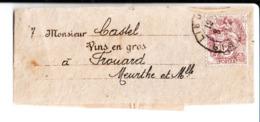 Bande D'envoi D'imprimé à M. Castel Vins En Gros à Frouard. Timbre 2C Type Joseph Blanc. Créateur Emile Thomas. - Other