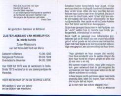 Souvenir Mortuaire VAN HEMELRYCK Adeline – Zuster Marie-Achille – (1902-1993) Geboren Te BERLARE Overleden Te HEVERLEE - Devotion Images