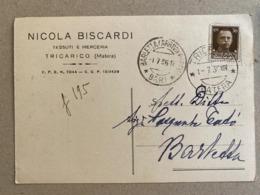 TRICARICO (MATERA)  NICOLA BISCARDI TESSUTI E MERCERIA   1936 - Matera