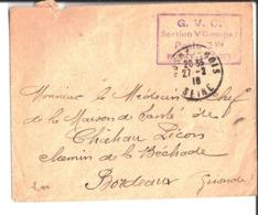 Env Cachet G. V. C. Section V Groupe 1 Poste 2 Bis Rosny Sous Bois. 1916. Au Médecin Chef Maison De Santé Chateau Picon - Other