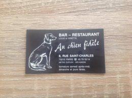 Carte De Visite De Bar Restaurant   Au Chien Fidele    Paris 15eme - Cartes De Visite
