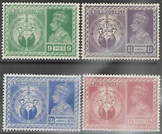 India   1946   Sc#195-8  Victory Set MLH  2016 Scott Value $4.75 - 1936-47 King George VI