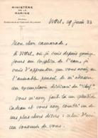 LETTRE AUTOGRAPHE LAS DARLAN MINISTERE MARINE 1933 - Documents