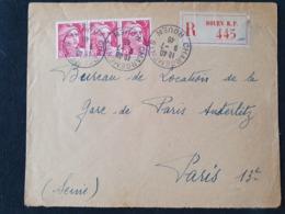 RECOMMANDE - ROUEN CHARGEMENTS - 9 Juillet 1946 - Seine Maritime - Gandon YT 716 - Bande De 3 - Marcophilie (Lettres)