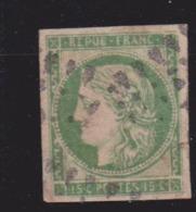 France Timbre Cérès YT N°2 Oblitéré 15 Centimes Vert Faux D'Epoque (?) - 1849-1850 Cérès