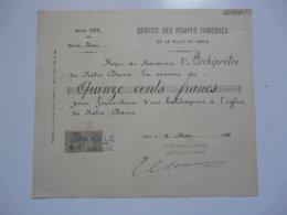 VIEUX PAPIERS - DOCUMENTS : Reçu De Mr L'Archiprêtre De NOTRE DAME De PARIS Pour Fourniture D'un Baldaquin - 1800 – 1899