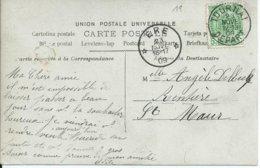 Fantasiekaart Met OCB 83 - Afstempeling TOURNAI DEPART / ERE - COBA 8 - 1893-1907 Wappen