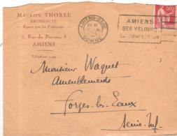Enveloppe Maurice Thorel Architecte 3 Rue Du Pinceau Amiens 80 Somme - 1921-1960: Période Moderne