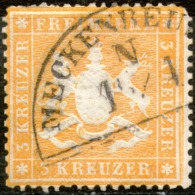 Wurttemberg,1861,Scott#25,perf:13 1/2 On Thin Paper,cancell:Meckenbeuren,N 15/4,as Scan - Wurtemberg