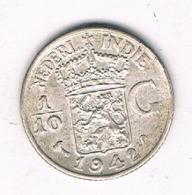 1/10 GULDEN 1942  NEDELANDS INDIE /8048/ - [ 4] Colonies