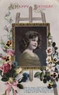 AR73 Greetings - A Happy Birthday - Young Girl, Flowers - Birthday