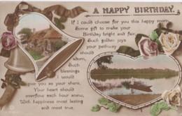 AR73 Greetings - A Happy Birthday - Lake, Boat, Bells, Cottage - Birthday