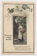 AJ24 Birthday Greetings - Lady With Basket, Birds, Blossom, Tuck - Birthday