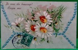 Cpa Gaufrée FLEURS DE MARGUERITE , MARGUERITES , 1907 , EMBOSSED DAISY  FLOWERS DAISIES  OLD PC - Fleurs