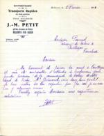 03.ALLIER.BELLERIVE SUR ALLIER.TRANSPORTS EN TOUS GENRES.J.M.PETIT 48bis AVENUE DE VICHY. - Transport