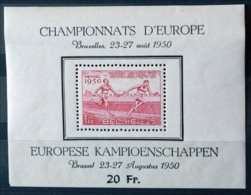BELGIQUE BLOC FEUILLET 29 BRUXELLES 23-27 AOUT 1950 CHAMPIONNAT EUROPE HEYSEL ATHLÉTISME SPORT KAMPIOENSCHAPPEN MNH - Blocs 1924-1960