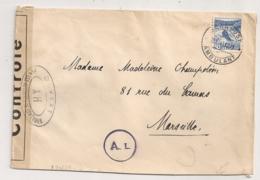 1943 LETTRE DE SUISSE A MARSEILLE / CENSURE / OUVERT PAR LES AUTORITES DE CONTROLES XH  / CACHET ROND AL  B1097 - Marcophilie (Lettres)