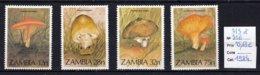 Zambie Thème Champignon, 4 Timbres , Mushroom, Setas, Cogumelos - Hongos