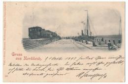 Norden Norddeich 1897 Eisenbahn Lokomotive Zug Dampfer - Norden