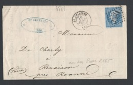 Napoléon Y/T N°22 20c Bleu Sur LAC De St Etienne Du 10/1/1865 GC 3581 Vers Renaison Verso Bureau De Passe 2565 - Marcophilie (Lettres)