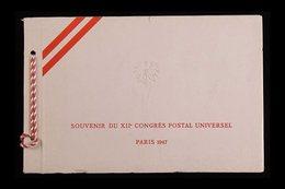 AUSTRIA 1947 UPU CONGRESS PRESENTATION FOLDER. Aspecial Printed 'Souvenir Du XIIe Congres Postal Universel Paris 1947'  - Stamps