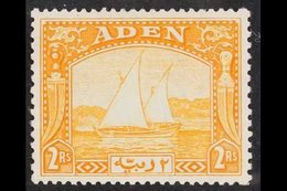 1937 2r Yellow, Dhow, SG 10, Very Fine, Well Centered Mint. For More Images, Please Visit Http://www.sandafayre.com/item - Aden (1854-1963)