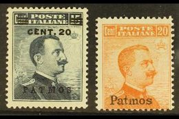 PATMOS 1916-17 20c On 15c Grey-black & 20c Orange, No Watermark, Sassone 8/9, Mi 10/11VIII, Fine Mint (2 Stamps). For Mo - Egeo