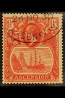 "1924-33 1½d Rose-red TORN FLAG Variety, SG 12b, Superb Used With Fully Dated Oval ""Registered / Ascension"" Postmark, Ver - Ascension"