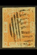 NEW SOUTH WALES 1851-52 1d Brick Red On Bluish Paper, Two Leaves To Right Of South, SG 48b, Four Margins And Neat Barred - Unclassified
