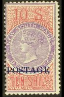 """NEW SOUTH WALES 1894-1904 Overprinted """"POSTAGE"""" In Blue 10s Violet And Claret, Perf 11, SG 275a, Fine Mint. Very Fresh!  - Unclassified"""