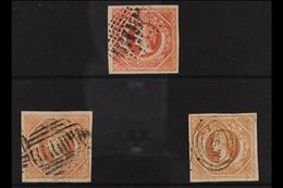 NEW SOUTH WALES 1854-59 IMPERF 1s Diadem, Double Lined 12 Wmk, ALL The Three Listed Shades, Rosy Vermillion, Pale Red &  - Unclassified