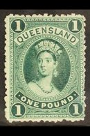QUEENSLAND 1886 £1 Deep Green On Thick Paper, SG 161, Fine Mint, Large Part Og. For More Images, Please Visit Http://www - Unclassified