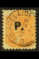 """SOUTH AUSTRALIA DEPARTMENTALS """"P."""" (Police)  1870 2d Orange Red, Perf 10, SG 160, Ovptd """"S.M."""", Very Fine Used. For More - Unclassified"""