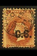 "SOUTH AUSTRALIA DEPARTMENTALS ""C.S."" (Chief Secretary) 1870 1s Chestnut, Perf 11½x10, SG 108, Ovptd ""C.S."" Fine Used, Sm - Australia"
