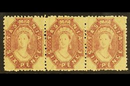 TASMANIA 1869 6d Reddish Mauve, Perf 12, Wmk Double Lined Numerals, SG 76, Superb Never Hinged Mint Strip Of 3. Lovely   - Unclassified