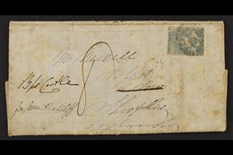 VICTORIA 1852 (April) Entire Letter From Melbourne To Shropshire, Bearing S Fair 3d Blue Half Length Tied By Barred Oval - Unclassified