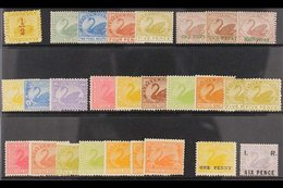 """WESTERN AUSTRALIA 1884-1912. MINT & NHM """"SWANS"""" COLLECTION On A Stock Card, ALL DIFFERENT & Includes 1884 ½d On 1d Yello - Unclassified"""