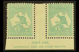 1915-27 1s Blue-green, SG 40, JOHN ASH Imprint Gutter Pair, Mint, Tiny Ink Spot At Left. For More Images, Please Visit H - Unclassified