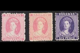 1863-77 4d Bright Rose (x2 Shades) And 6d Deep Violet Wmk Reverse, SG 26 & 31x, Mint, Cat £780. (3 Stamps) For More Imag - Bahamas (...-1973)