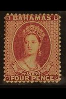 1863-77 4d Rose Lake Perf 14, SG 37, Fine Mint Part Og, Fresh, With BPA Photo-certificate For More Images, Please Visit  - Bahamas (...-1973)