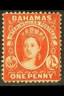1882 1d Scarlet-vermilion, Watermark Crown CA, Perf 14, SG 42, Mint With Large Part Original Gum, Lovely Fresh Appearanc - Bahamas (...-1973)