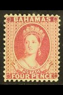 """1882 4d Rose """"Chalon"""", CA Wmk, Perf 12, SG 41, Very Fine Mint, Signed Holcombe. Pretty Stamp With Good Colour. For More  - Bahamas (...-1973)"""