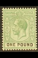 1912-19 £1 Dull Green And Black, Wmk Mult Crown CA, SG 89, Very Fine Mint. For More Images, Please Visit Http://www.sand - Bahamas (...-1973)