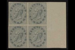 1883 IMPERF BLOCK OF 4. 20c Blue-grey IMPERF (SG 64, COB 39, Michel 36), Fine Mint Marginal BLOCK Of 4, Lower Stamps Are - Belgium